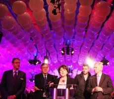 De gauche à droite : Cédric Fiolet, Jacques Richir, Martine Aubry, Aurélien Binder et Pierre De Saintignon. Crédit photo : Maxime Dufour photographies