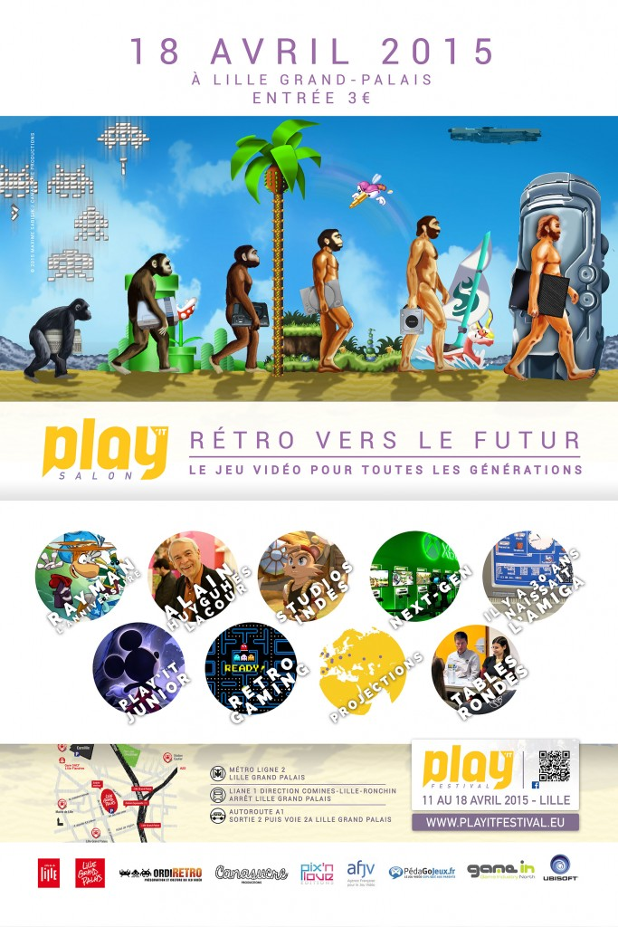 affiche salon play'it rétro vers le futur